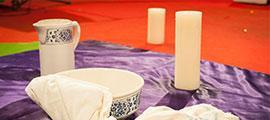 vase torchon bougies