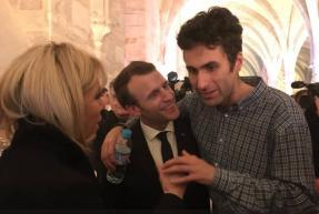 Samuel de L'Arche et Emmanuel et Brigitte Macron, Collège des Bernardins, 9 avril 2018